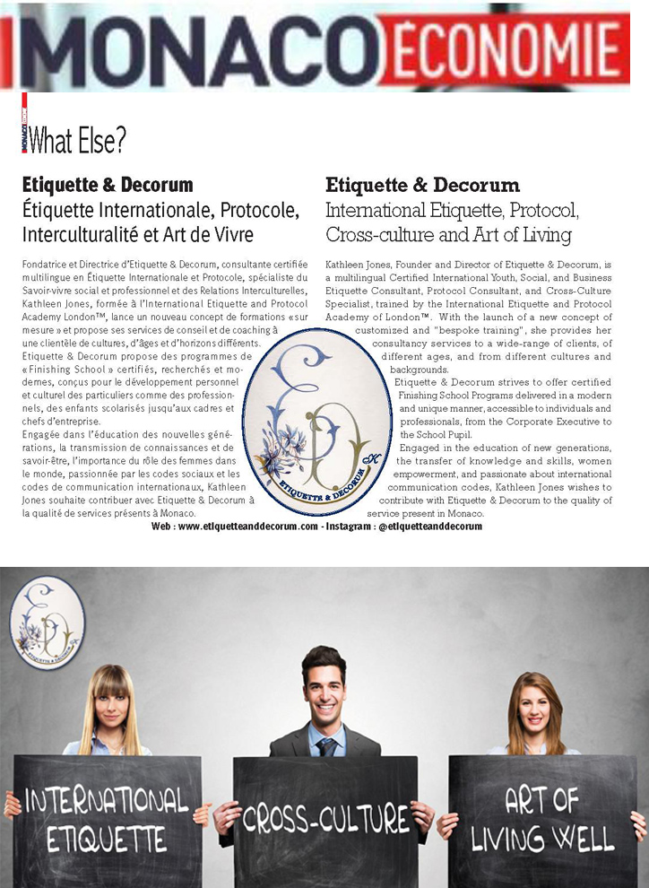 Monaco economie Mai 2018 - Article Etiquette and Decorum
